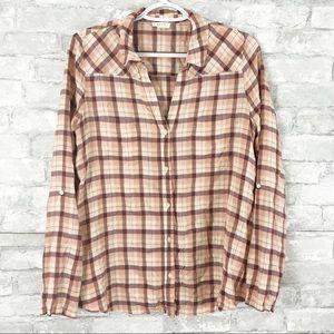 Soft Joie Pink Peach Plaid Button Down Shirt